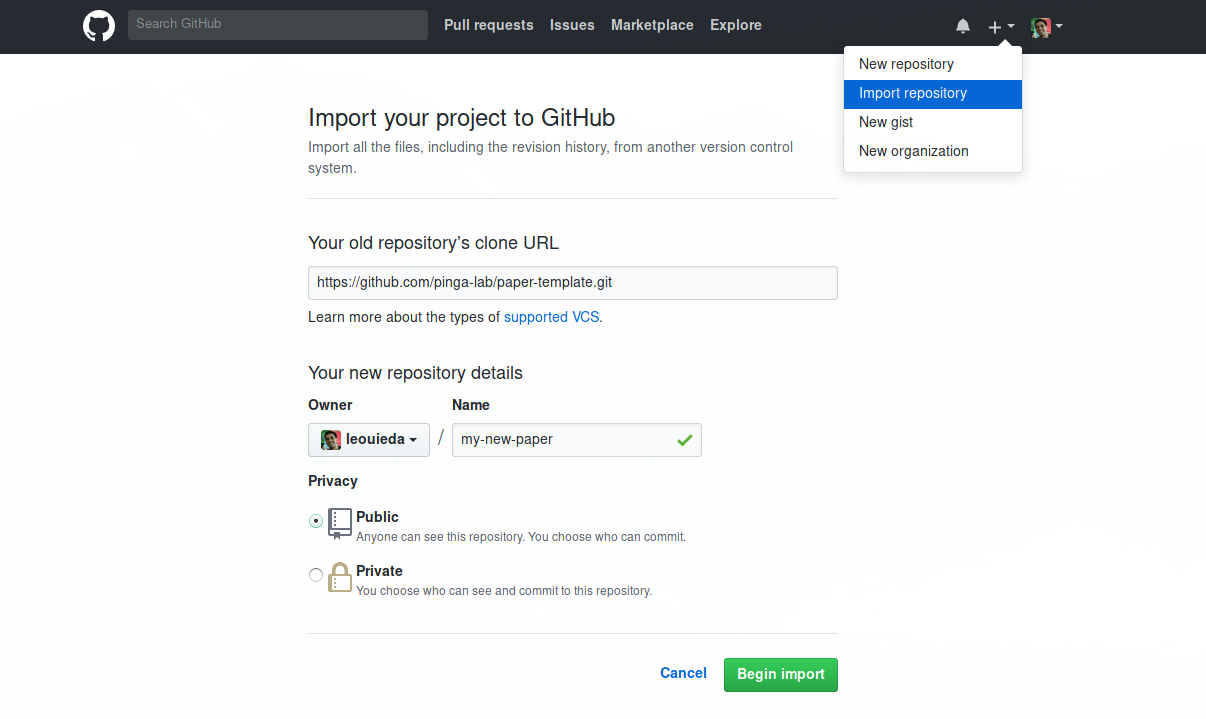 Screenshot of the Github page for importing code from an existing repository.