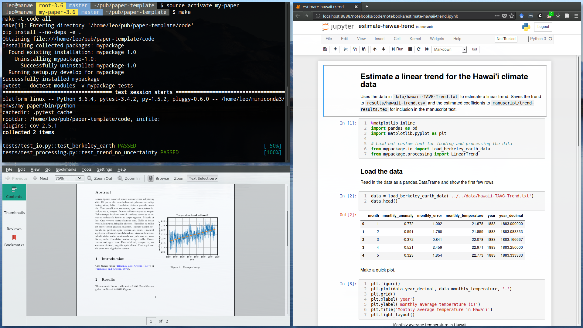 "Screenshot of running ""make"" in the paper-template with the final paper PDF and a Jupyter notebook."