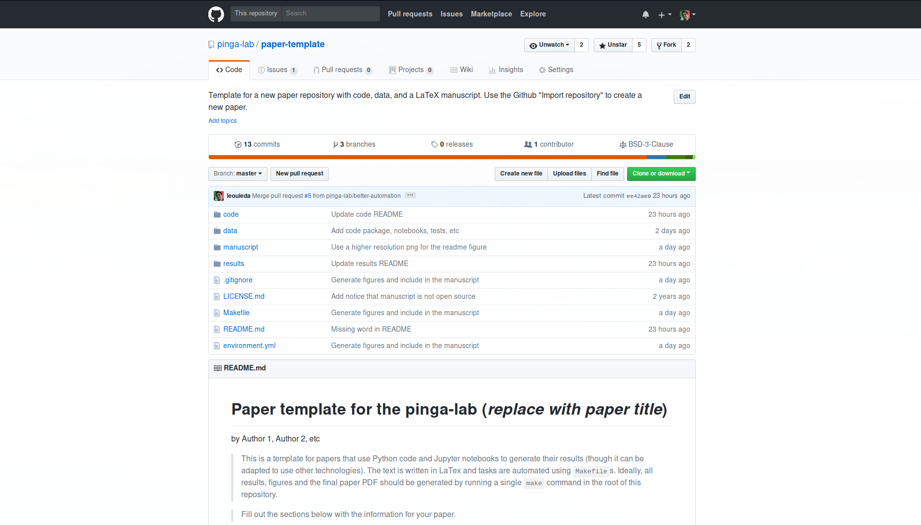 Screenshot of the paper-template Github repository.