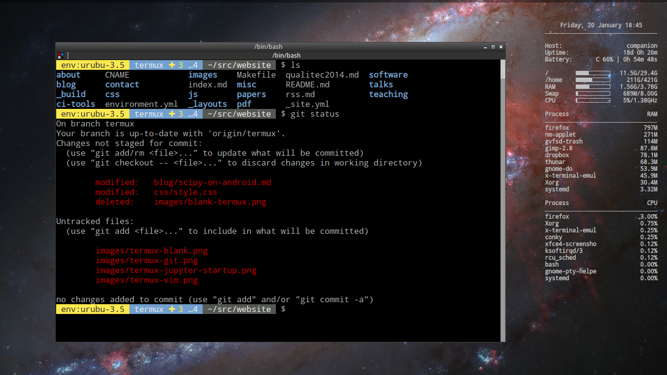 My Linux terminal to compare with termux